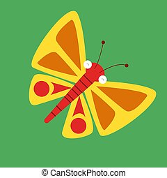 Yellow butterfly, illustration, vector on white background.