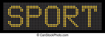 yellow button board word sport isolated on black board