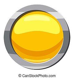 Yellow button icon, cartoon style