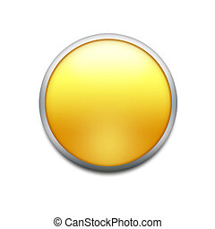yellow button with splotch  isolated on white