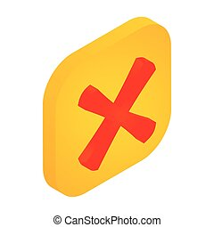 Yellow button with cross icon, isometric 3d style