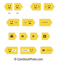 Yellow Buttons with Emotions