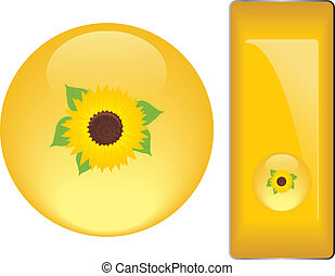 Yellow buttons with sunflower