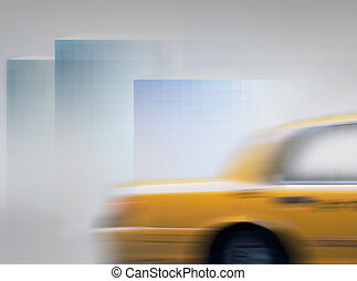 Yellow cab in blurred motion in abstract city landscape