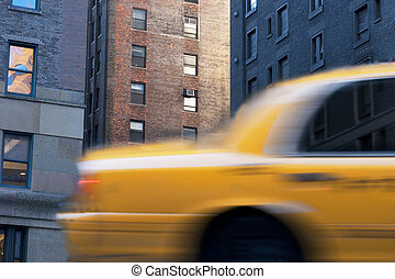 Yellow cab in New York - Close up of yellow taxi cab in...