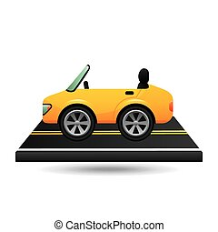 yellow cabriolet car on road