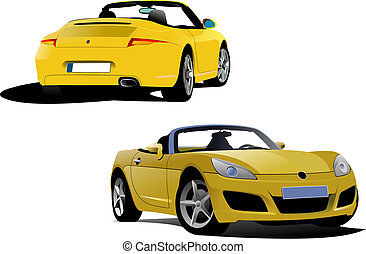 Yellow cabriolet on the road. Vector illustration