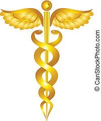 Yellow caduceus medical symbol