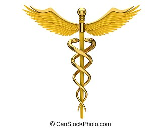 Yellow caduceus