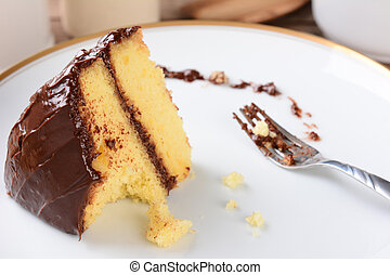 Yellow Cake Chocolate Frosting - A slice of yellow cake with...