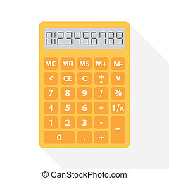 yellow calculator in flat design with long shadow and set of digital numbers - symbol of count, calculation, account and math