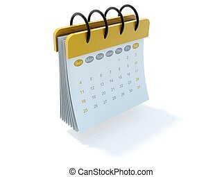 Yellow calendar icon isolated on white
