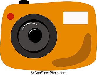 Yellow camera, illustration, vector on white background.