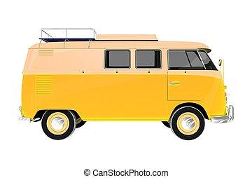 Camper Van Vintage Style - Yellow Camper Van Vintage Style...