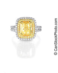 Yellow Canary Diamond Large Engagment Ring in Halo Setting,...