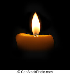yellow candle in a dark room