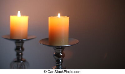 Yellow candles in candlestick is blown out