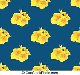 Yellow Canna Lily Flower Seamless on Indigo Blue Background