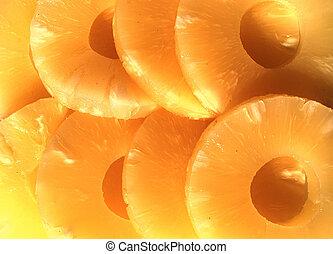 yellow canned pineapple rings, vegetarian food