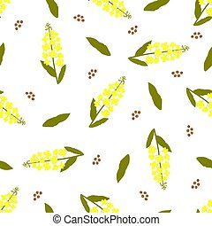 Yellow canola flower. Rapeseed plant seamless pattern. - ...