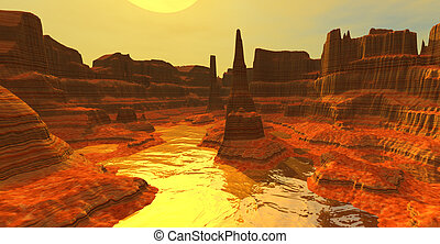 3d scene of desert canyon with mountains at sunset