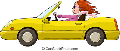 A woman in a yellow car vector illustration
