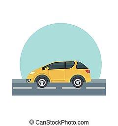 yellow car at street vector design