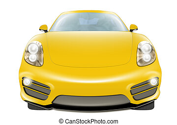 Yellow Car - A digital drawing of a yellow modern sport car,...
