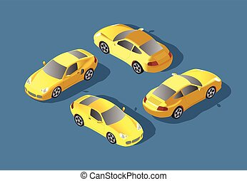 Yellow Car concept. Sedan automobile. Flat 3d transport high quality icon set. Car icons isolated vector . City transport.