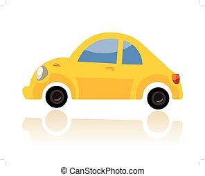 yellow car, funny cartoon style