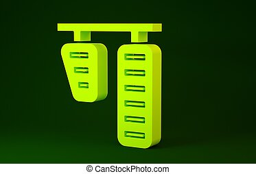 Yellow Car gas and brake pedals icon isolated on green background. Minimalism concept. 3d illustration 3D render