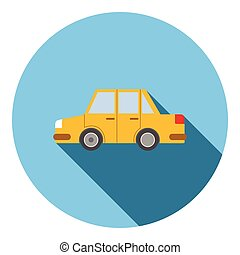 Yellow car icon, flat style