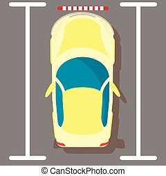 Yellow car icon, isometric style