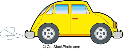 Yellow Car Icon Vector illustration on white background.