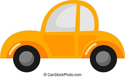 Yellow car, illustration, vector on white background.