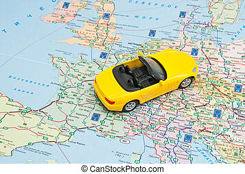 yellow car on the map