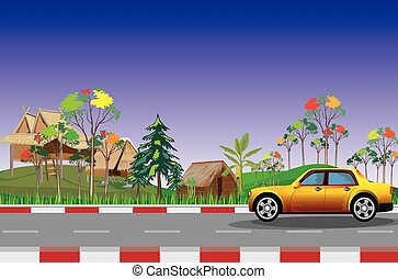 yellow car on the road at countryside vector design