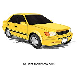 yellow car on white background vector design