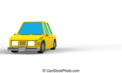 Yellow Car On White Text Space. Loop able 3DCG render Animation.