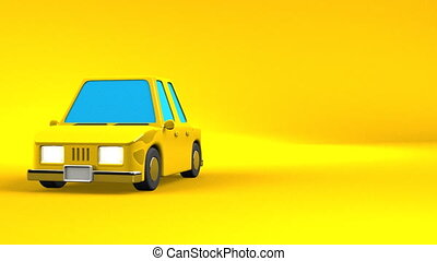 Yellow Car On Yellow Text Space. Loop able 3DCG render Animation.