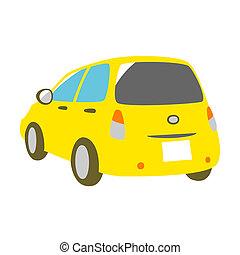 yellow car, rear view