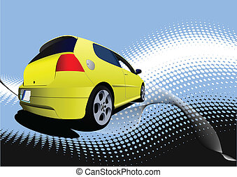 Yellow car sedan on the road. Vect