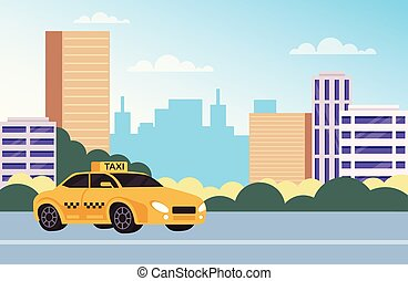 Yellow car taxi cab waiting passengers people in city. Urban town transportation concept. Vector flat cartoon graphic design illustration