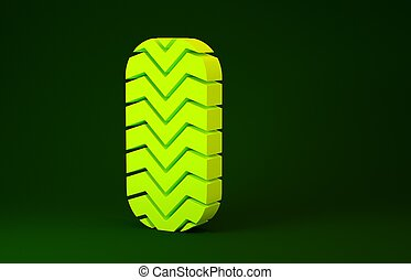 Yellow Car tire icon isolated on green background. Minimalism concept. 3d illustration 3D render