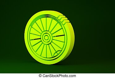 Yellow Car wheel icon isolated on green background. Minimalism concept. 3d illustration 3D render