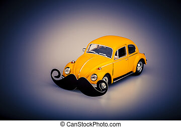 yellow car with mustache, beetle on white