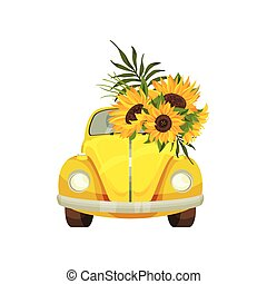 Yellow car with sunflower on the windshield. Vector illustration on white background.