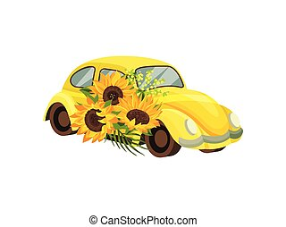 Yellow car with sunflowers. Vector illustration on white background.