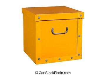 yellow cardboard box, isolated.