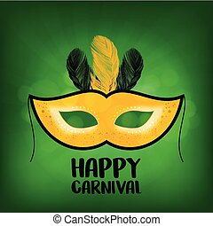 yellow carnival mask with black stroke and yellow and black feathers with black typography on green background